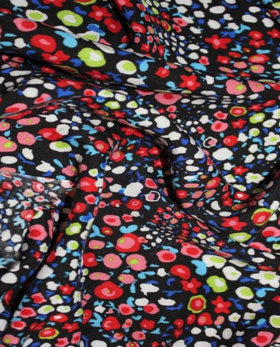 """Ткань Штапель """"Красные цветы"""" 002 цвет разноцветный цветочный картинка"""