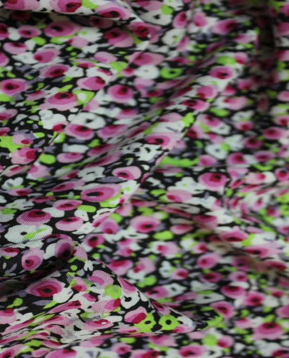 """Ткань Штапель """"Розовые цветы"""" 003 цвет разноцветный цветочный картинка 1"""