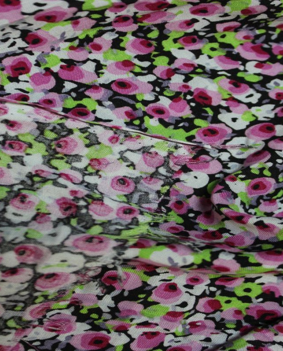 """Ткань Штапель """"Розовые цветы"""" 003 цвет разноцветный цветочный картинка 2"""