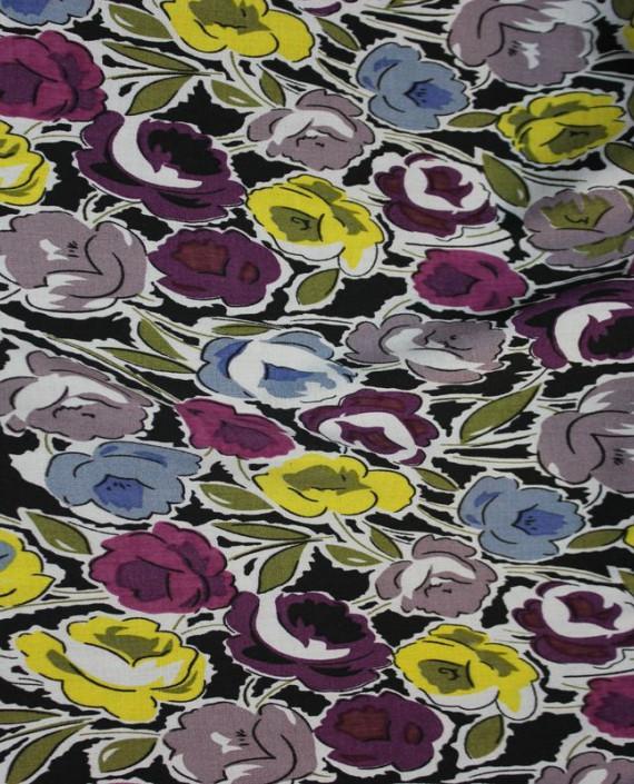 """Ткань Штапель """"Желтые цветы"""" 001 цвет разноцветный цветочный картинка"""
