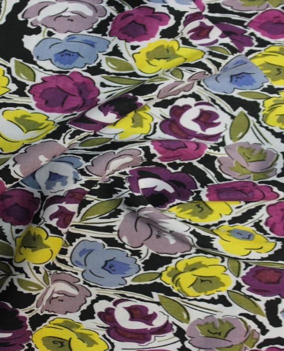 """Ткань Штапель """"Желтые цветы"""" 001 цвет разноцветный цветочный картинка 2"""