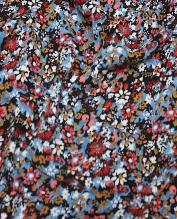 """Ткань Штапель """"Голубые цветы"""" 004 цвет разноцветный цветочный картинка"""