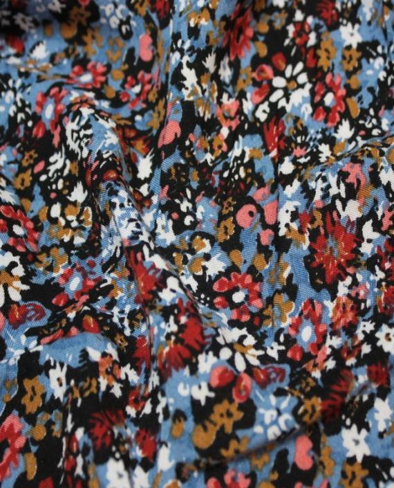 """Ткань Штапель """"Голубые цветы"""" 004 цвет разноцветный цветочный картинка 1"""