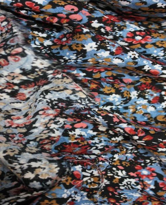 """Ткань Штапель """"Голубые цветы"""" 004 цвет разноцветный цветочный картинка 2"""