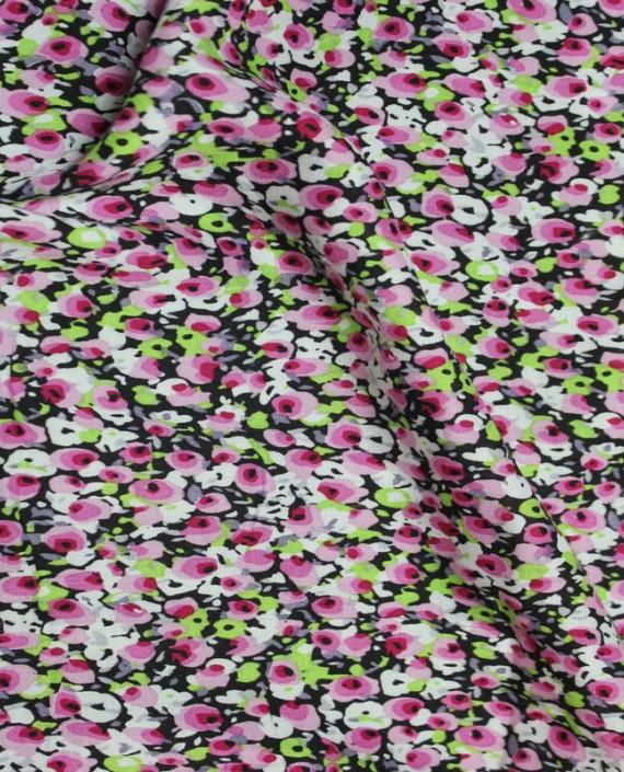 """Ткань Штапель """"Розовые цветы"""" 003 цвет разноцветный цветочный картинка"""