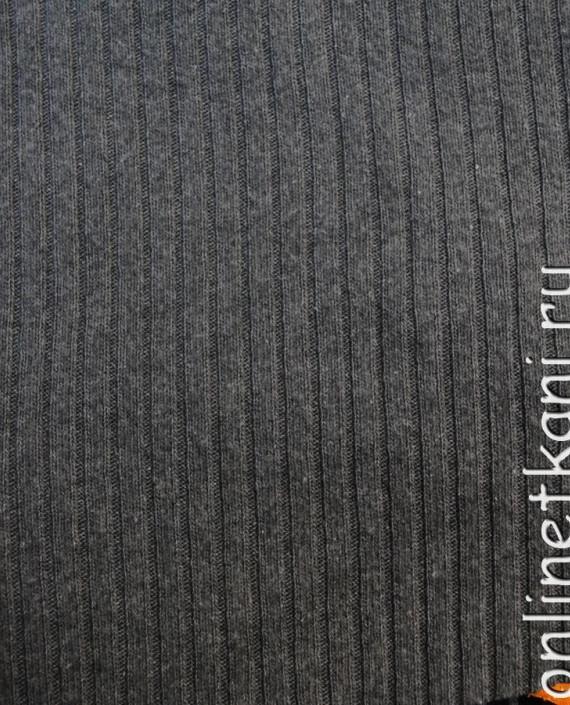 """Ткань Трикотаж """"Темно серый"""" 0001 цвет серый в полоску картинка 1"""
