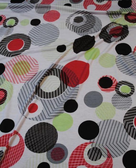 """Ткань Трикотаж """"Сферы"""" 0001 цвет белый абстрактный картинка"""