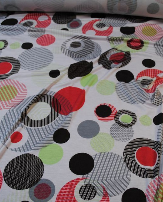 """Ткань Трикотаж """"Сферы"""" 0001 цвет белый абстрактный картинка 1"""