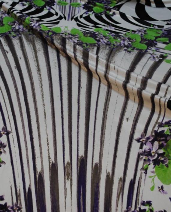 Ткань Трикотаж от Roberto Cavalli 0005 цвет белый цветочный картинка