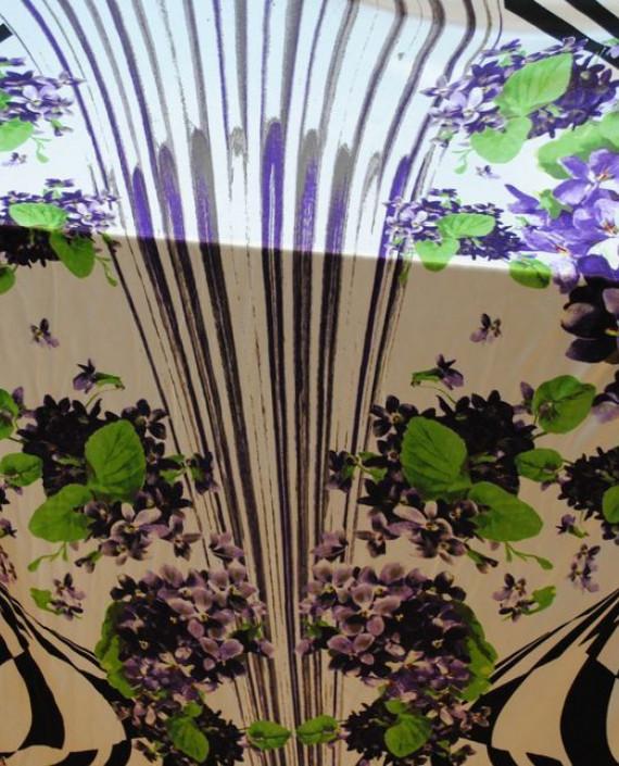 Ткань Трикотаж от Roberto Cavalli 0005 цвет белый цветочный картинка 3
