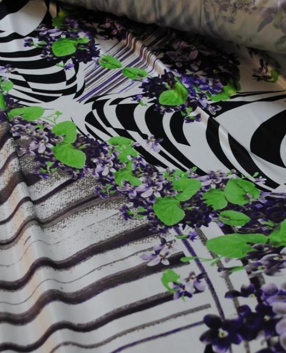 Ткань Трикотаж от Roberto Cavalli 0005 цвет белый цветочный картинка 2
