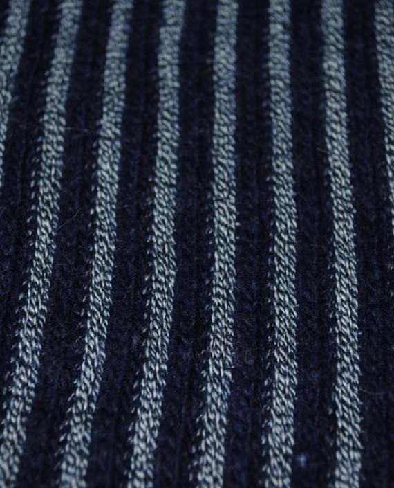 """Ткань Трикотаж """"Черно-Серая полоска"""" 0002 цвет синий в полоску картинка 2"""