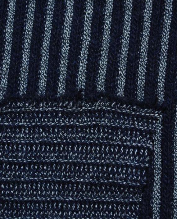 """Ткань Трикотаж """"Черно-Серая полоска"""" 0002 цвет синий в полоску картинка 3"""