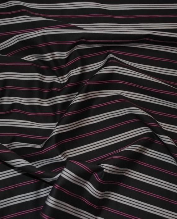 """Ткань """"Коричневая полоска"""" 0003 цвет черный в полоску картинка 3"""